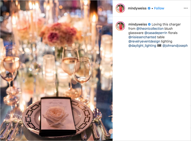 elegant wedding place setting with rose for Seth Curry and Callie Rivers by Mindy Weiss