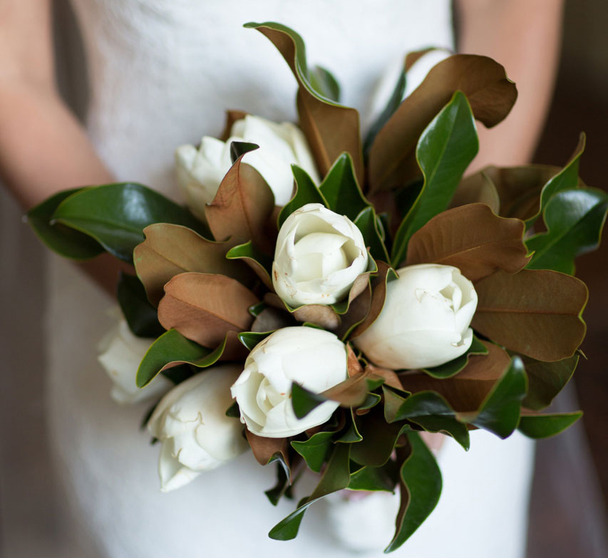 bridal bouquet of magnolia flowers and leaves, southern wedding traditions