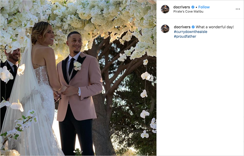 seth curry in blush jacket and callie rivers in lace bustier gown at wedding ceremony