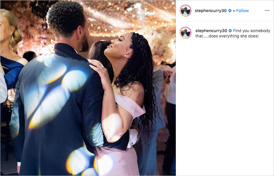 Steph Curry and Ayesha Curry dancing at brother Seth Curry's wedding