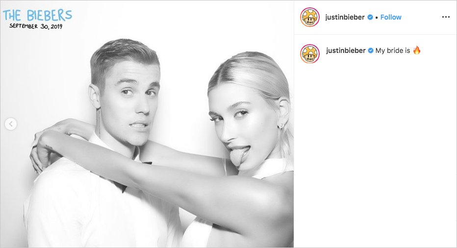 justin bieber & hailey baldwin wedding photo booth picture