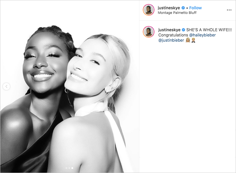 singer justine skye and model hailey baldwin at wedding to justin bieber, hailey baldwin bieber wedding dress