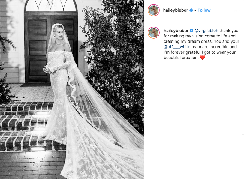 hailey baldwin bieber wedding dress by virgil abloh, hailey beiber wedding dress off-the-shoulder long sleeves lace mermaid