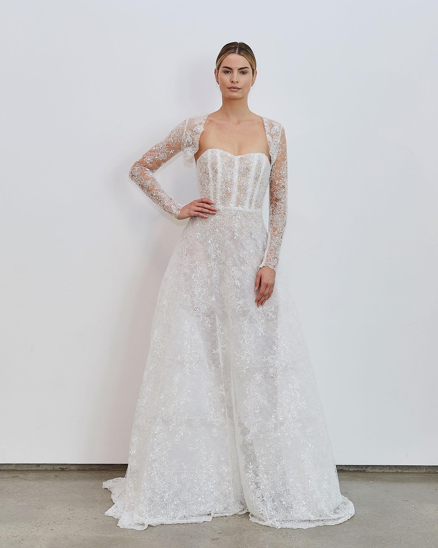 Francesca Miranda Fall 2020 bridal collection Antoinne strapless wedding dress corset bodice long sleeve bolero jacket