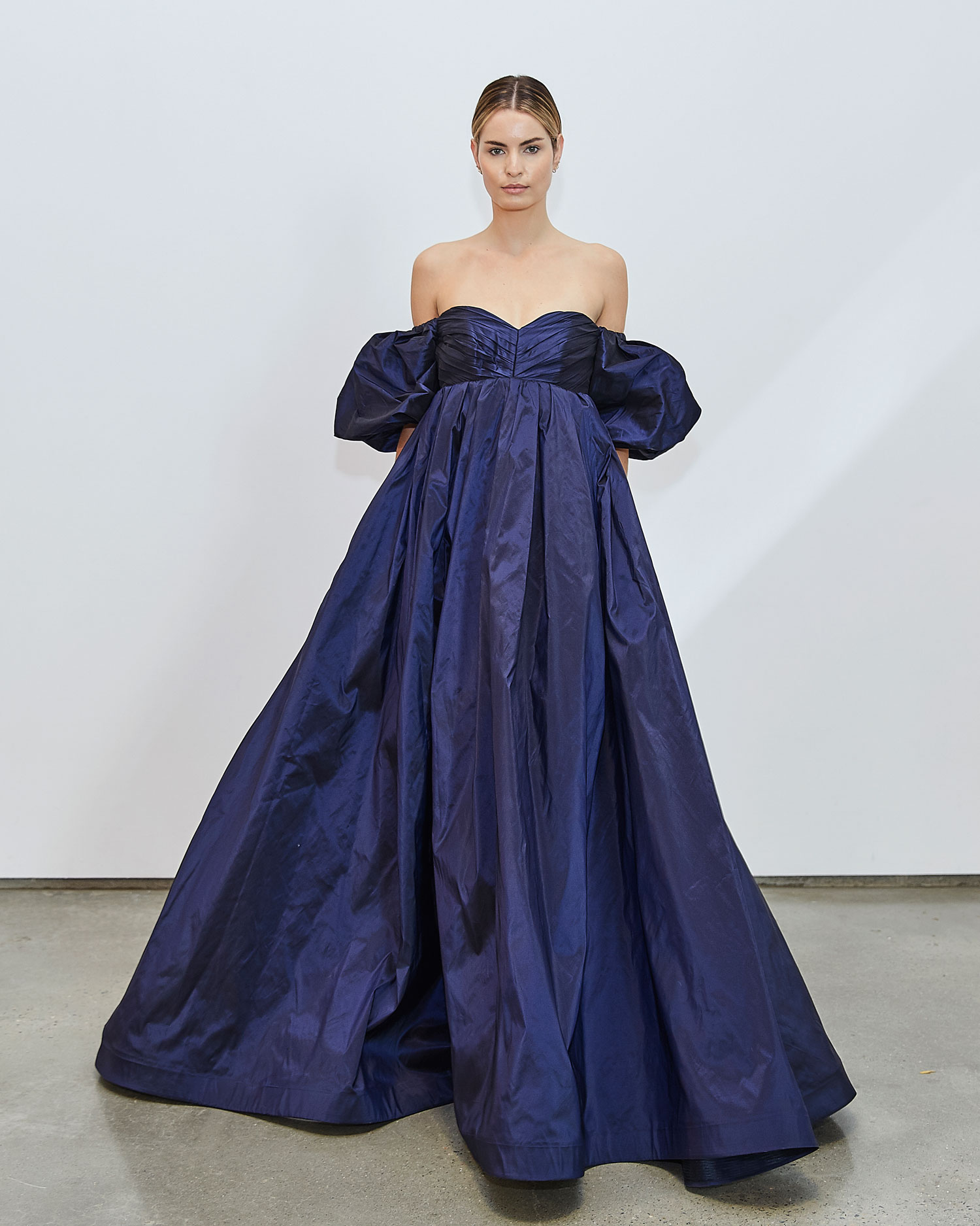 Francesca Miranda Fall 2020 bridal collection Eli wedding dress navy ball gown off shoulder puffy sleeves