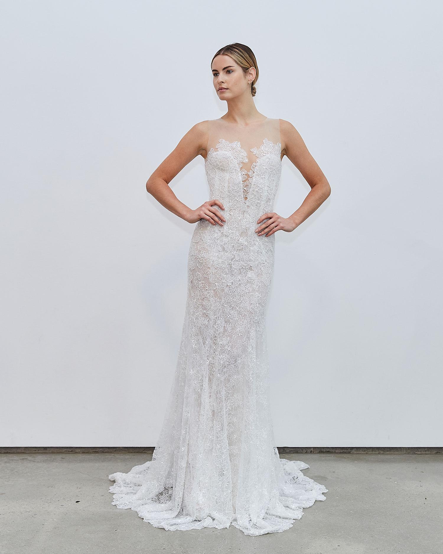 Francesca Miranda Fall 2020 bridal collection Danielle sleeveless lace wedding dress illusion neckline
