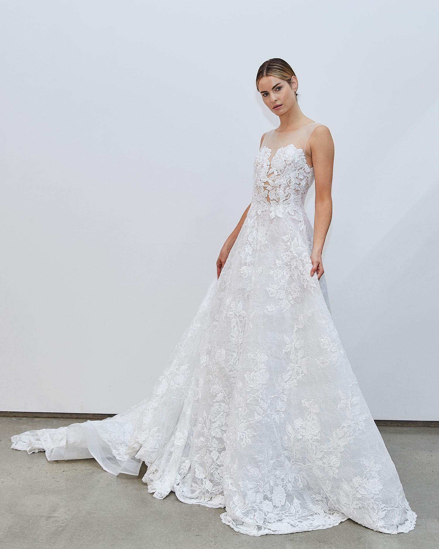 Francesca Miranda Fall 2020 bridal collection Gabrielle lace wedding dress illusion neckline a line skirt