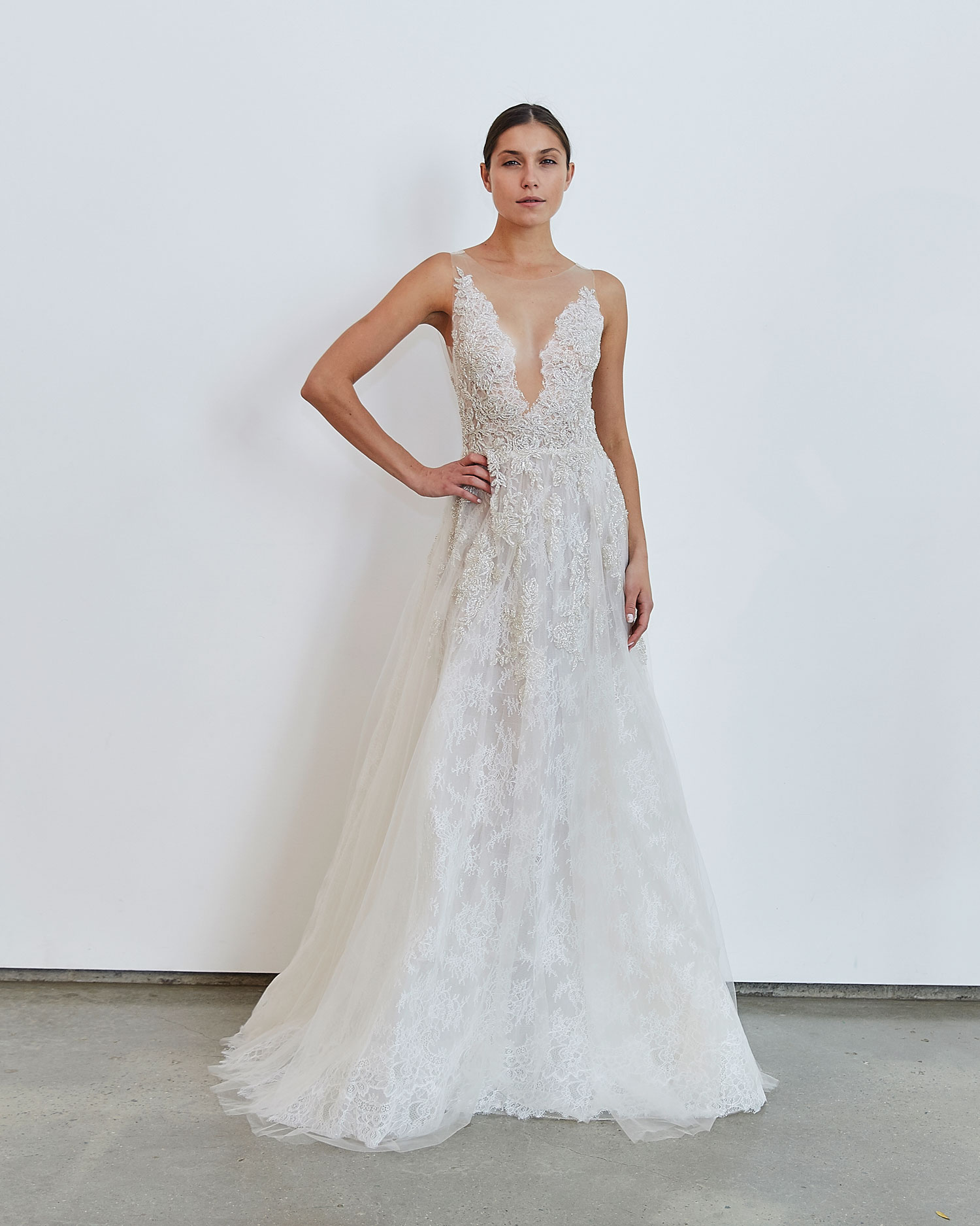 Francesca Miranda Fall 2020 bridal collection Halo wedding dress illusion neckline