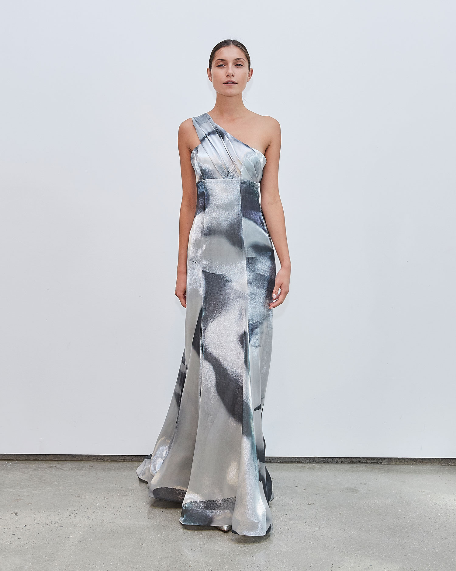 Francesca Miranda Fall 2020 bridal collection Gray wedding dress one shoulder grey print colorful gown
