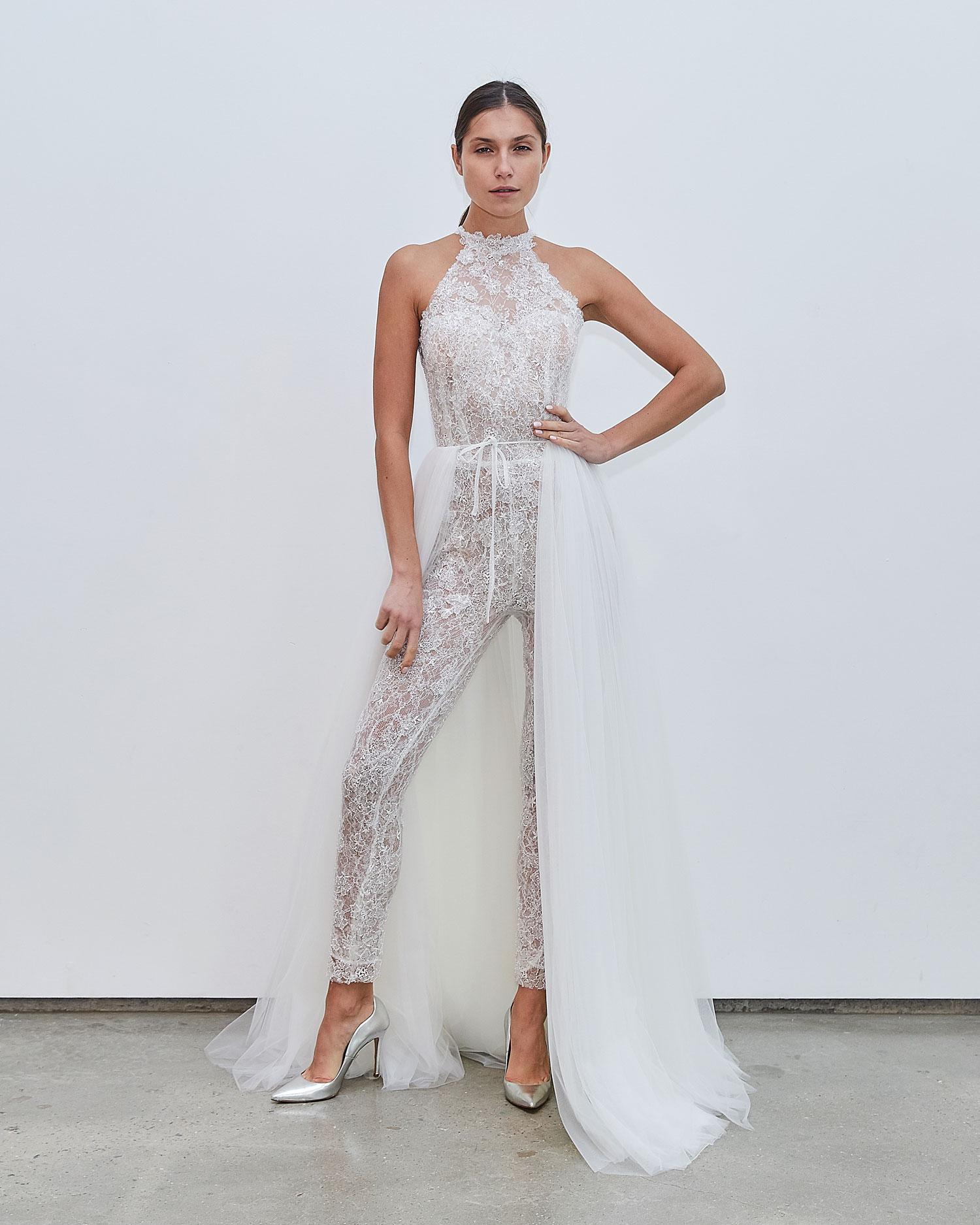 Francesca Miranda Fall 2020 bridal collection Jo wedding dress jumpsuit with overskirt halter neckline