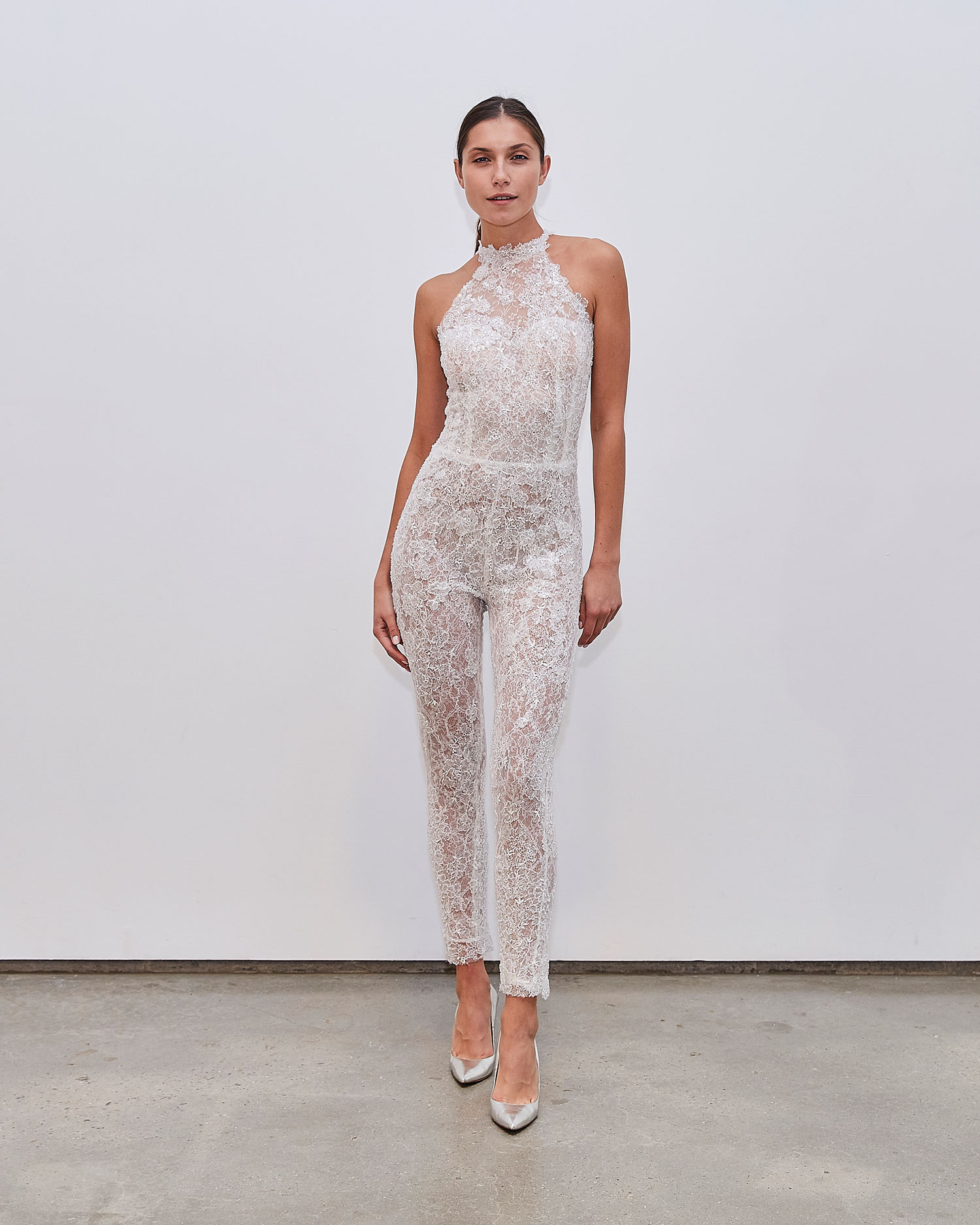 Francesca Miranda Fall 2020 bridal collection Jo wedding jumpsuit pant suit halter neckline