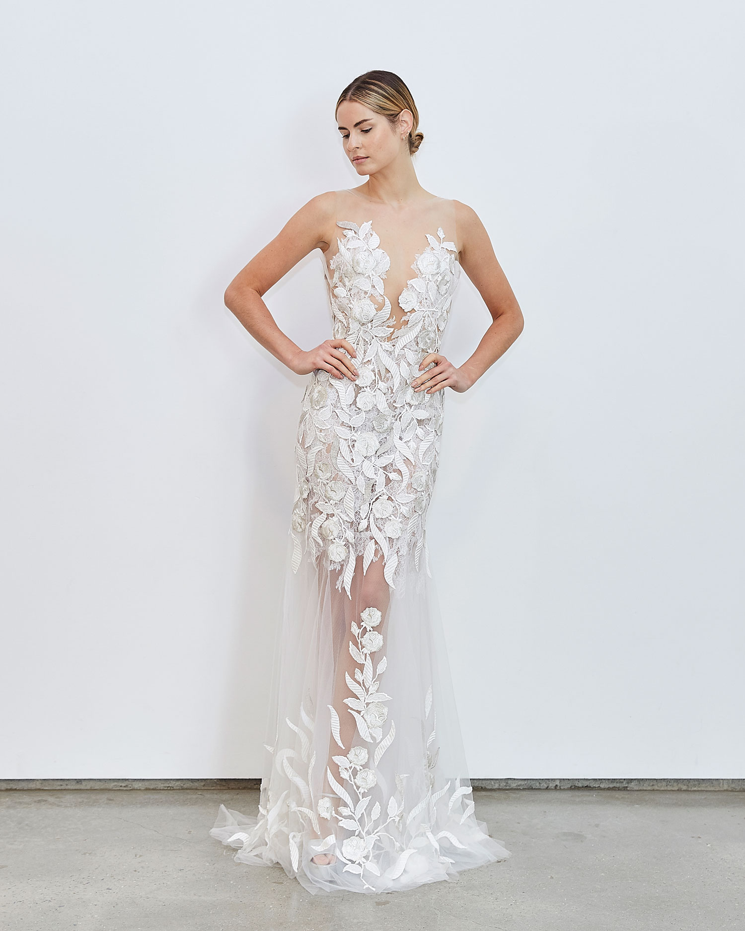 Francesca Miranda Fall 2020 bridal collection Shiloh wedding dress flower embroidery sheer details