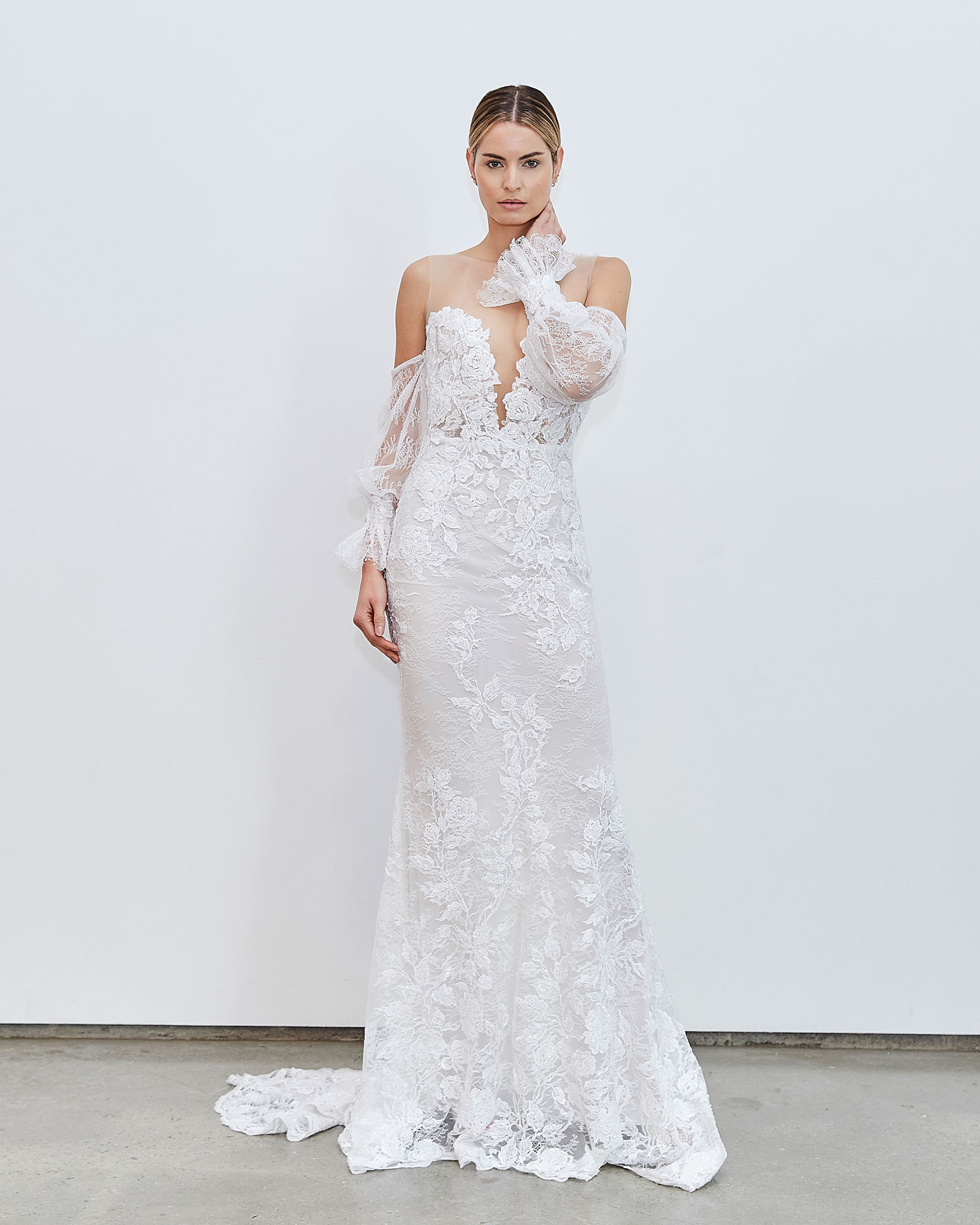 Francesca Miranda Fall 2020 bridal collection Alexis lace wedding dress illusion neckline detachable sleeves puffy around wrist