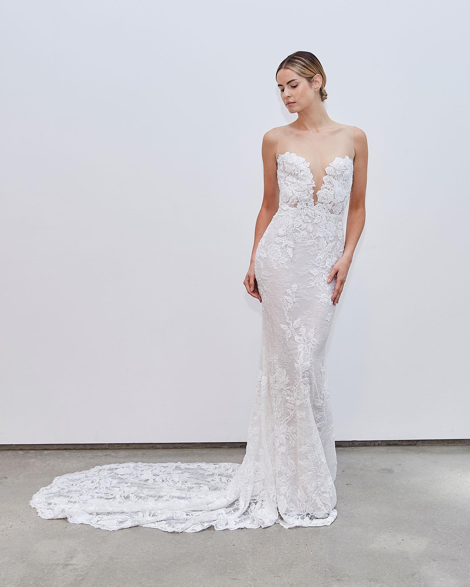 Francesca Miranda Fall 2020 bridal collection Alexis lace wedding dress illusion neckline no sleeves