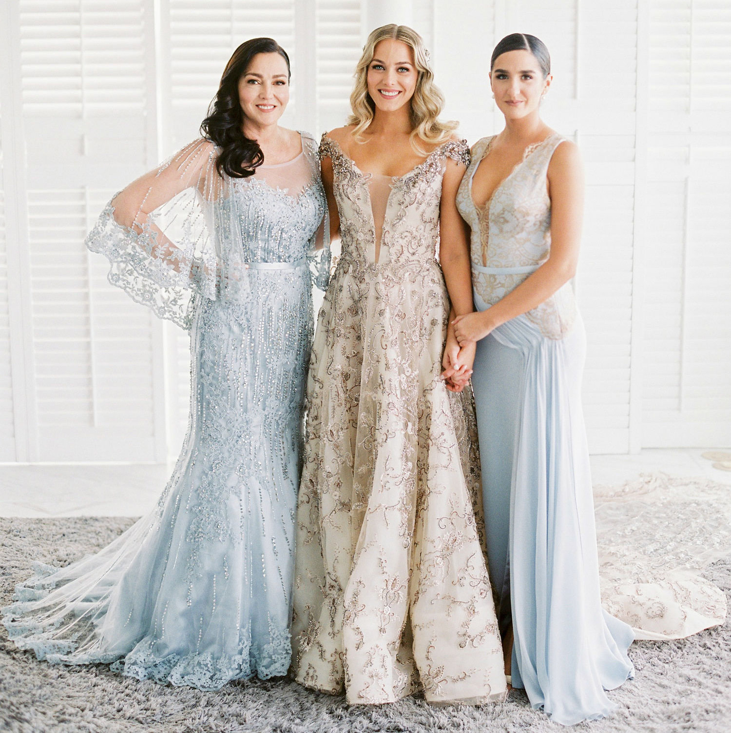 Mariana Vicente Hernandez with mother and sister, finding a mother of the bride dress