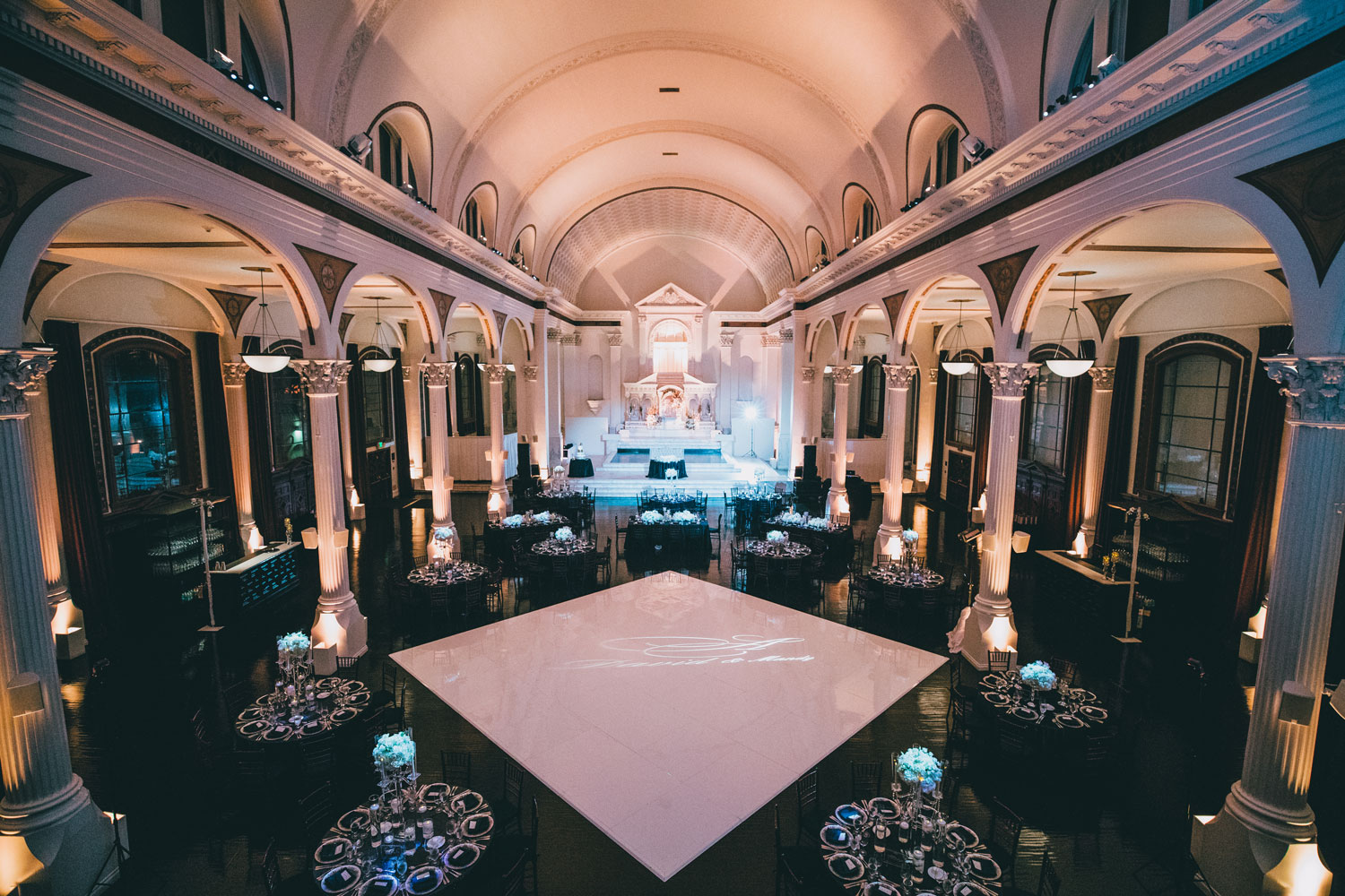 los angeles vibiana weddin, black and white wedding, black wedding tables white dance floor in the middle, disney songs to use in your wedding