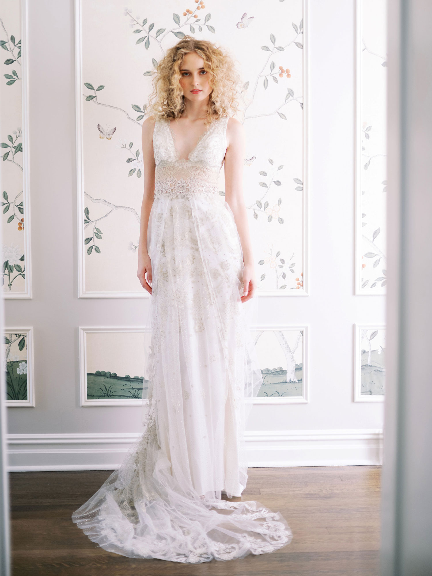 Claire Pettibone Evolution 2020 bridal collection Anastasia v-neck wedding dress