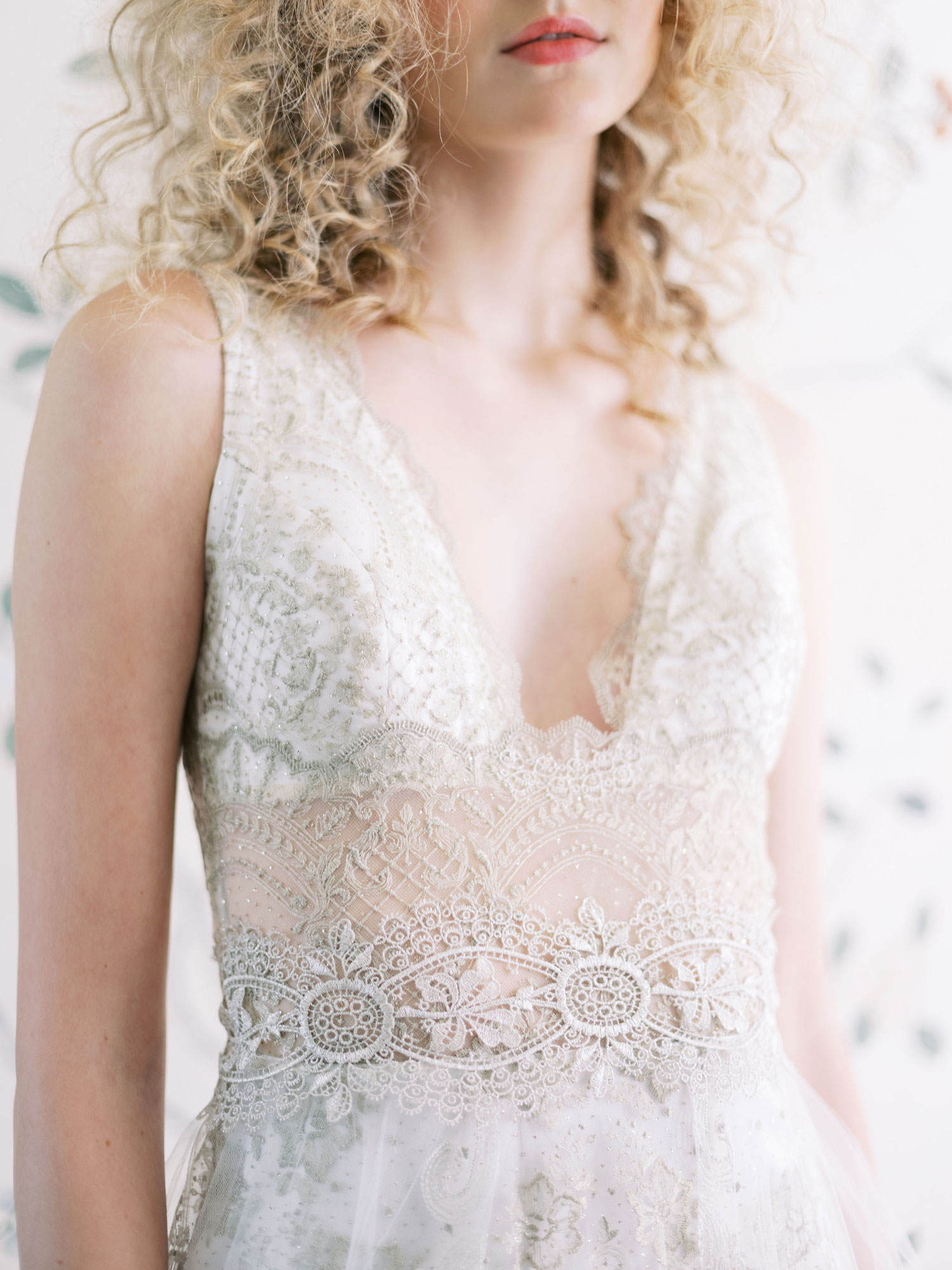 Claire Pettibone Evolution 2020 bridal collection Anastasia close up of bodice wedding dress