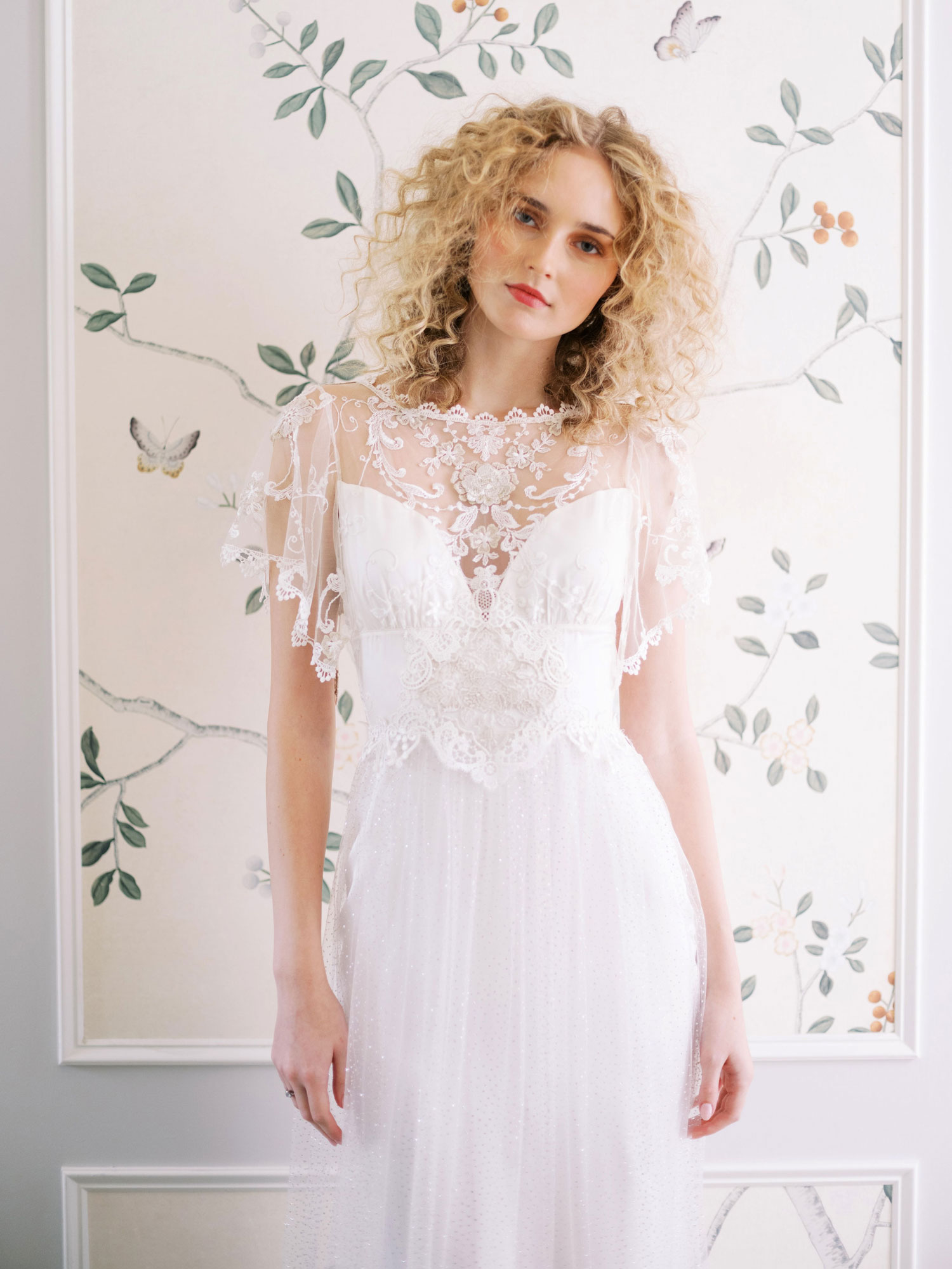 Claire Pettibone Evolution 2020 bridal collection Dawn wedding dress sheer overlay bodice
