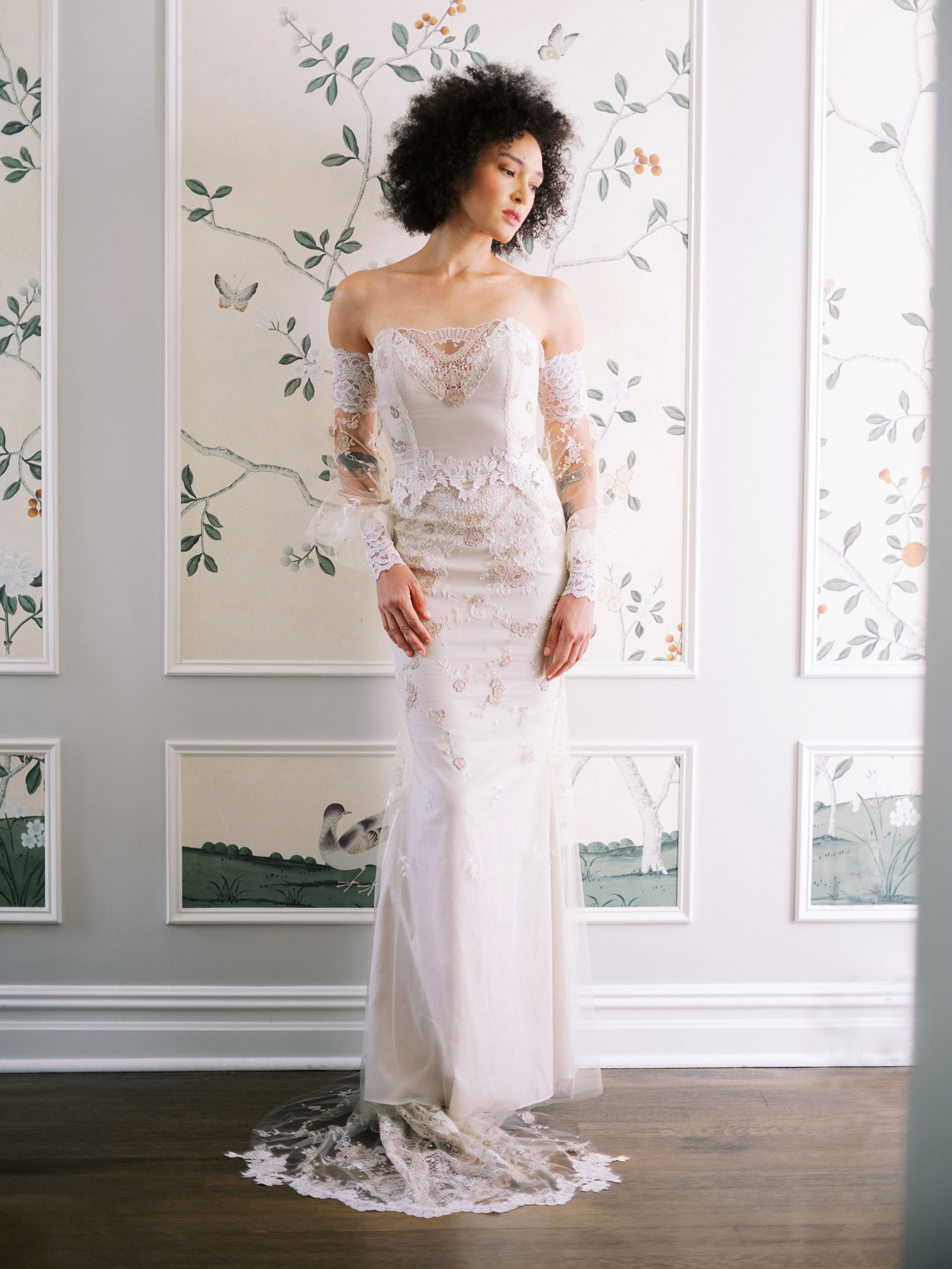Claire Pettibone Evolution 2020 bridal collection Lyra off shoulder sheer long sleeve wedding dress
