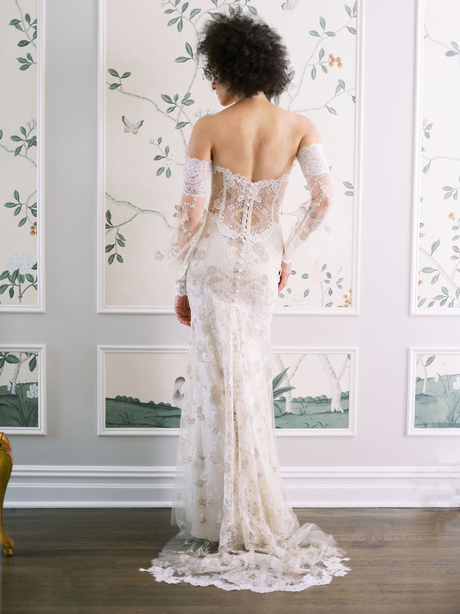 Claire Pettibone Evolution 2020 bridal collection Lyra back of wedding dress