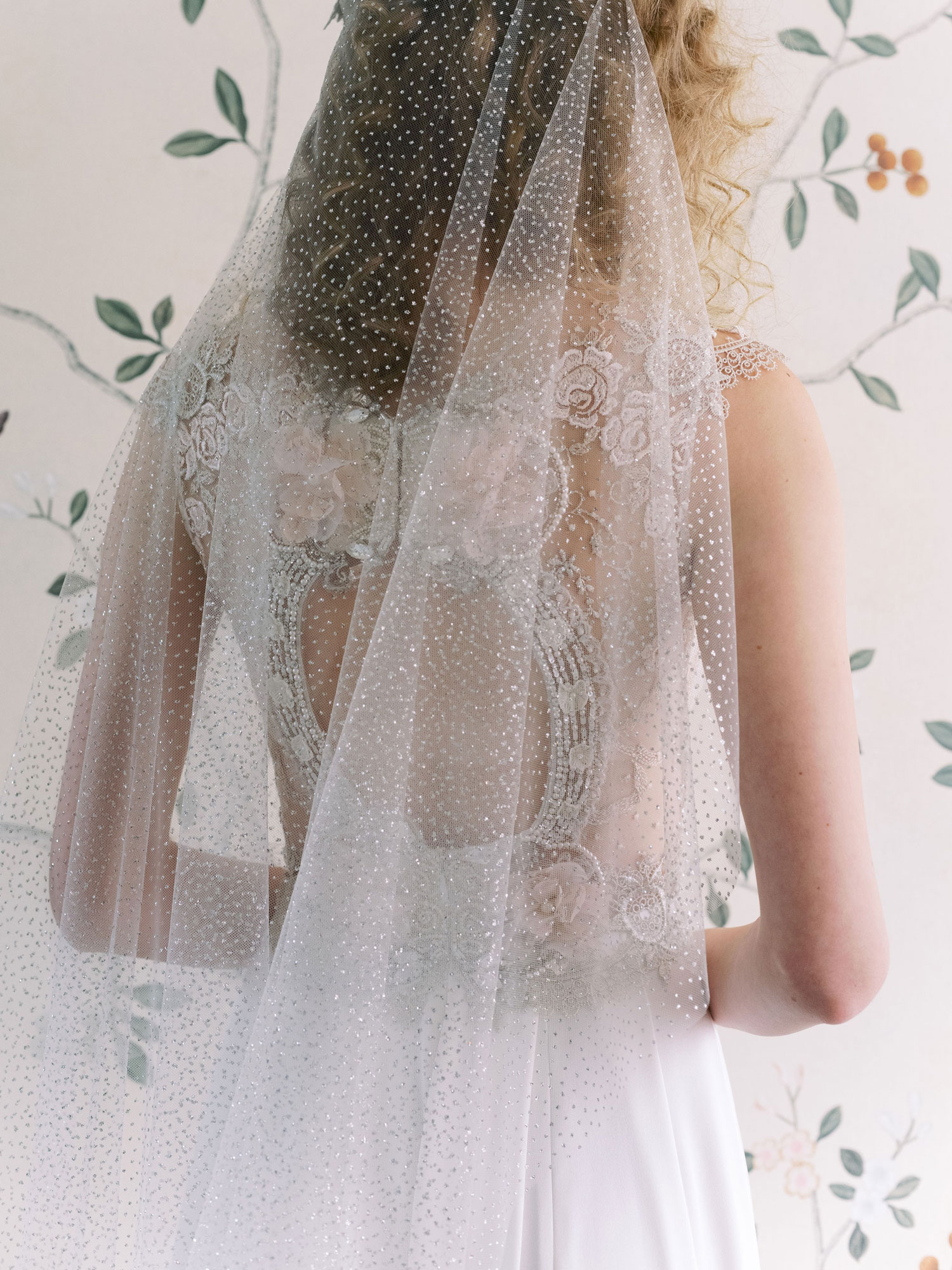 Claire Pettibone Evolution 2020 bridal collection Nera keyhole beaded wedding dress veil
