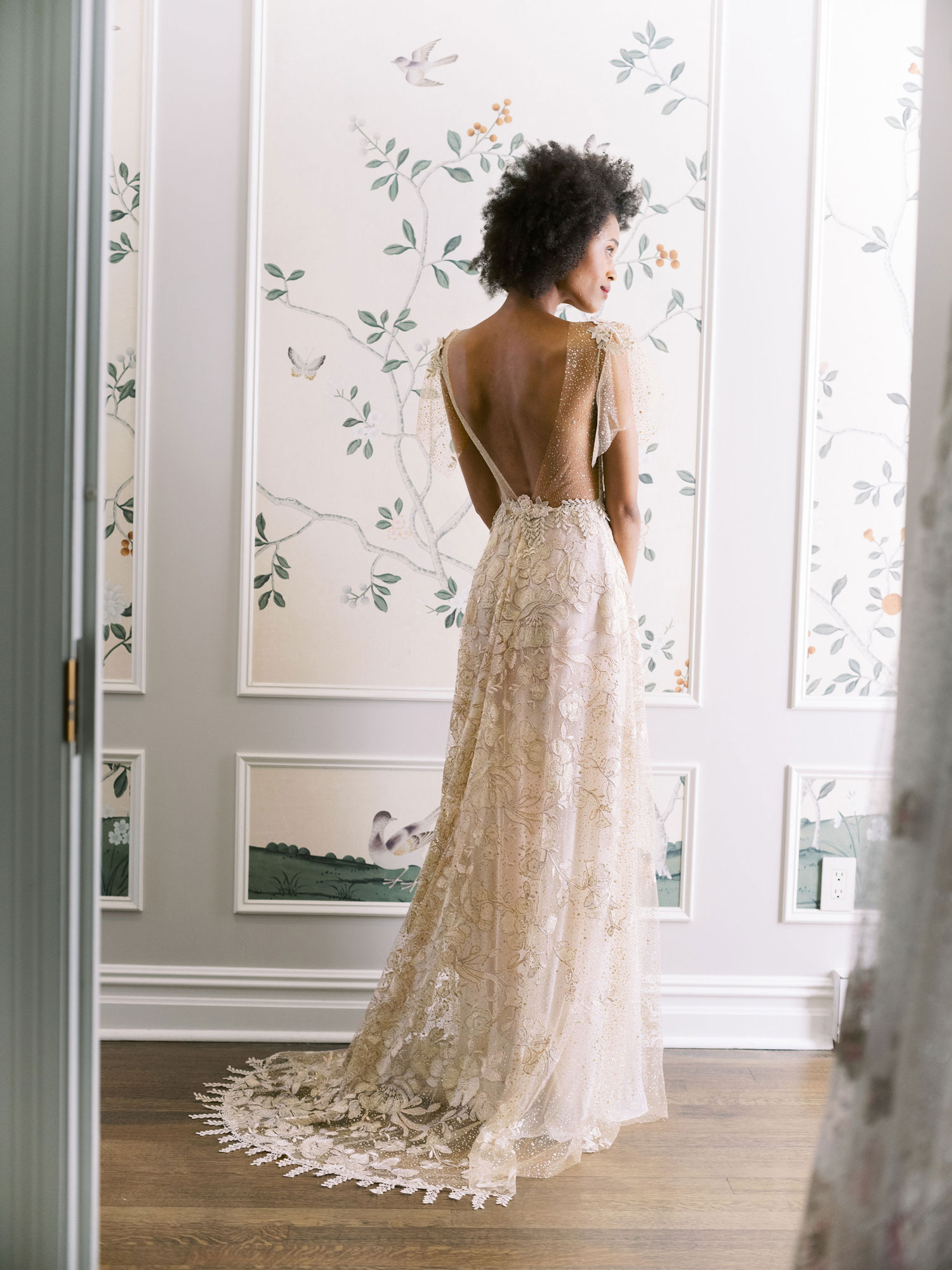 Claire Pettibone Evolution 2020 bridal collection Soleil romantic low back wedding dress