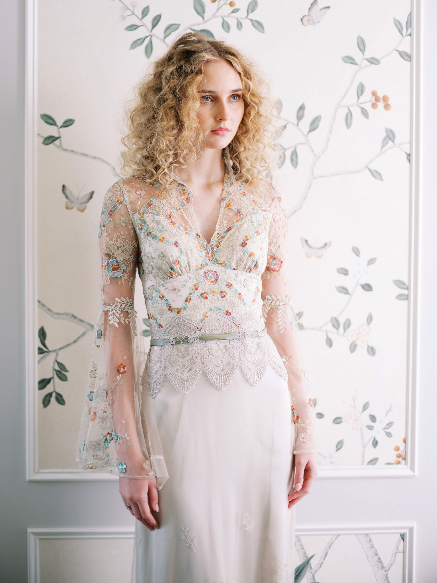 Claire Pettibone Evolution 2020 bridal collection Vida sheer long sleeve wedding dress