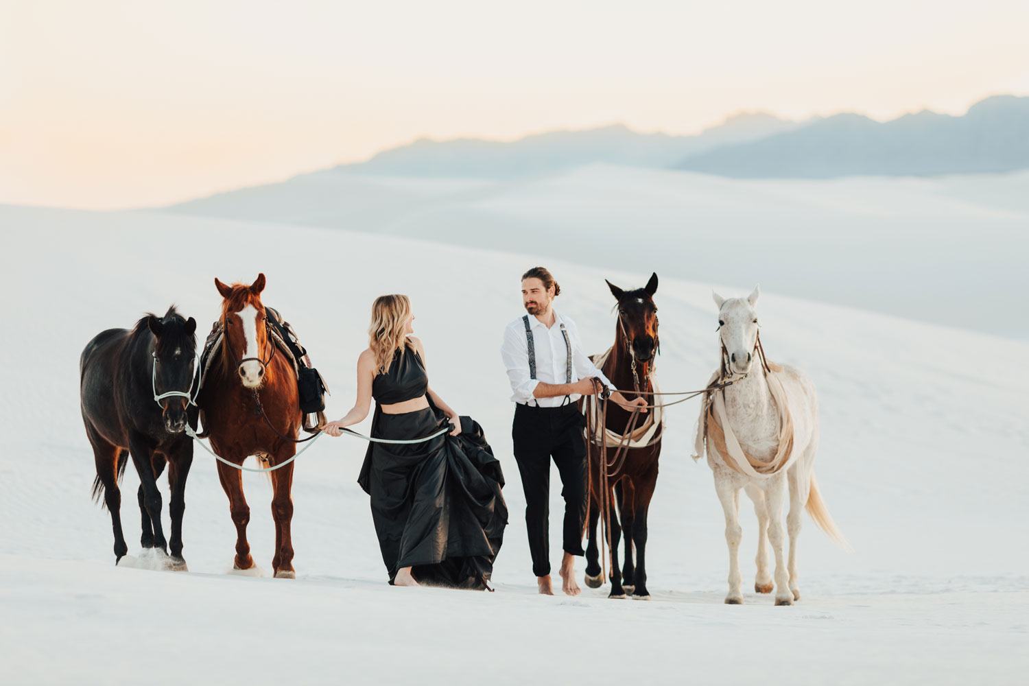 engagement photo shoot at White Sands National Monument in New Mexico engagement photos with horses