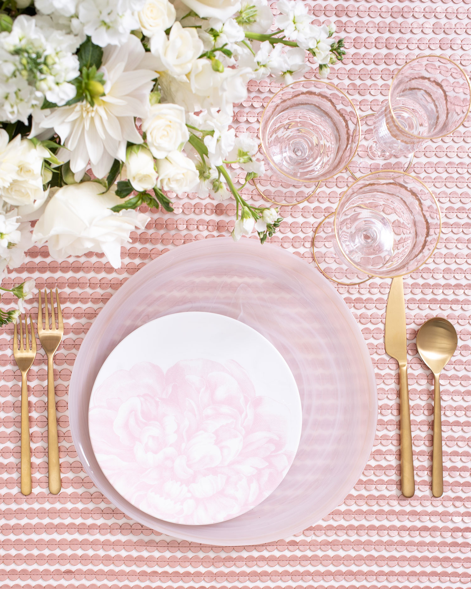Maison de Carine tabletop company pink flower print wedding tabletop place setting ideas