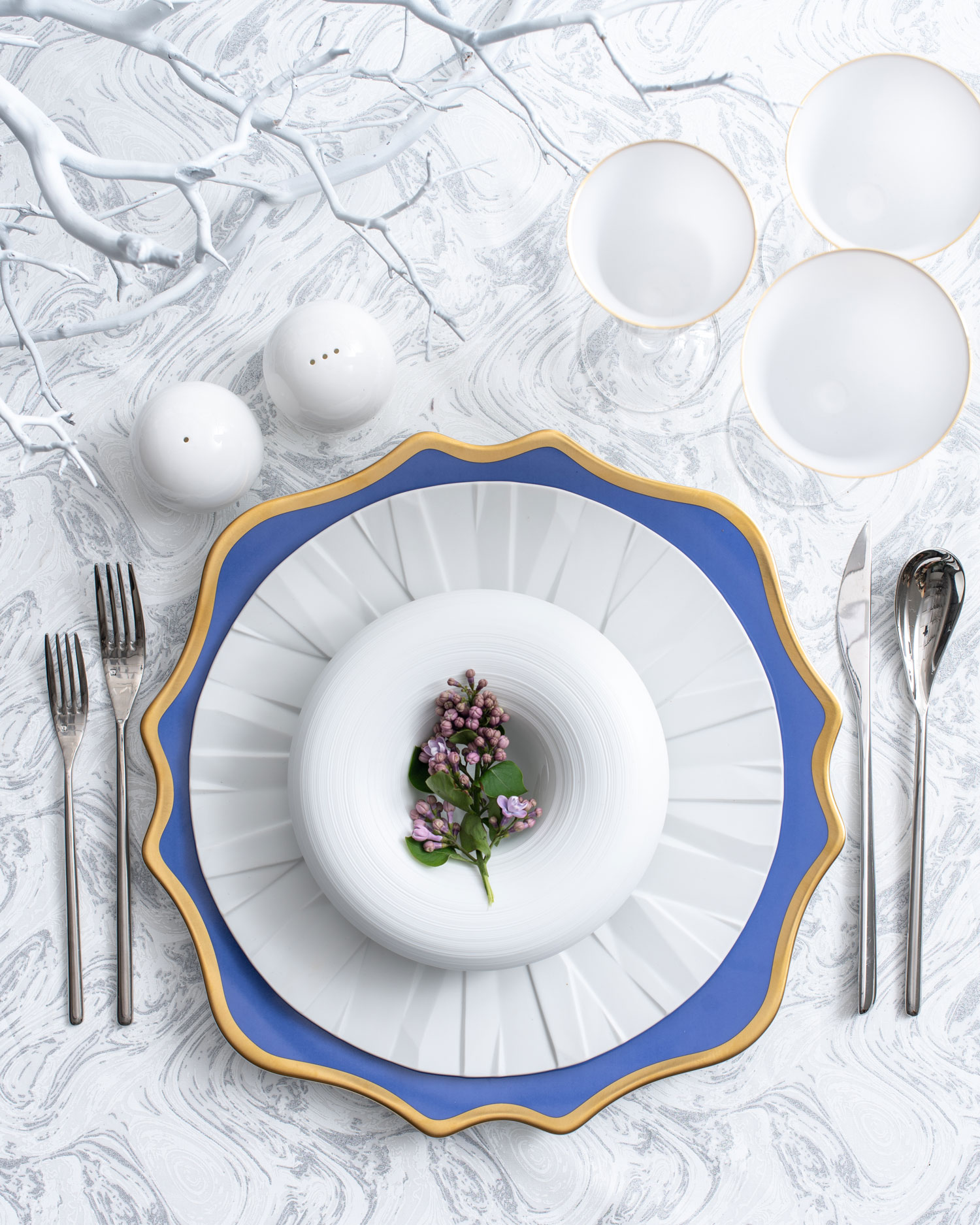 Maison de Carine tabletop company periwinkle gold and white wedding ideas
