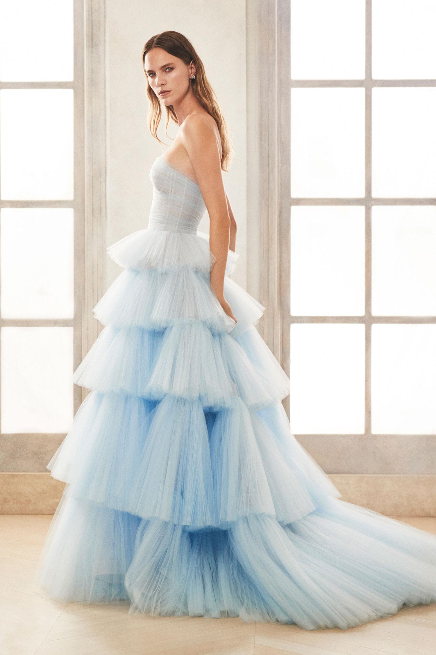 Oscar de la Renta fall 2020 light blue bridal gown tiered skirt wedding ideas carine's bridal atelier