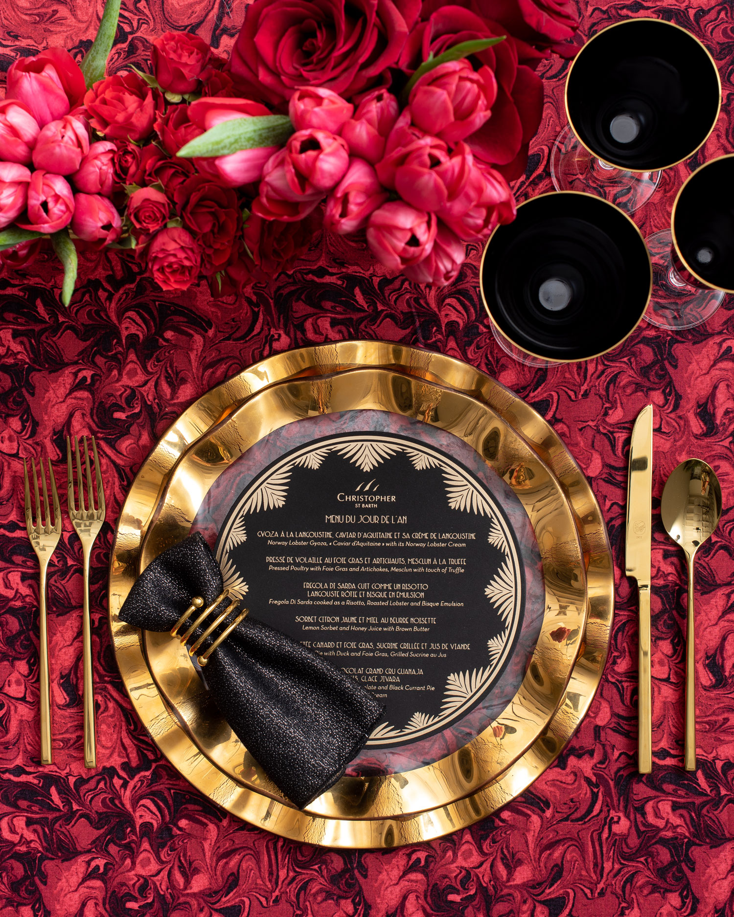 Maison de Carine tabletop company modern art deco black gold deep red tablescape place setting