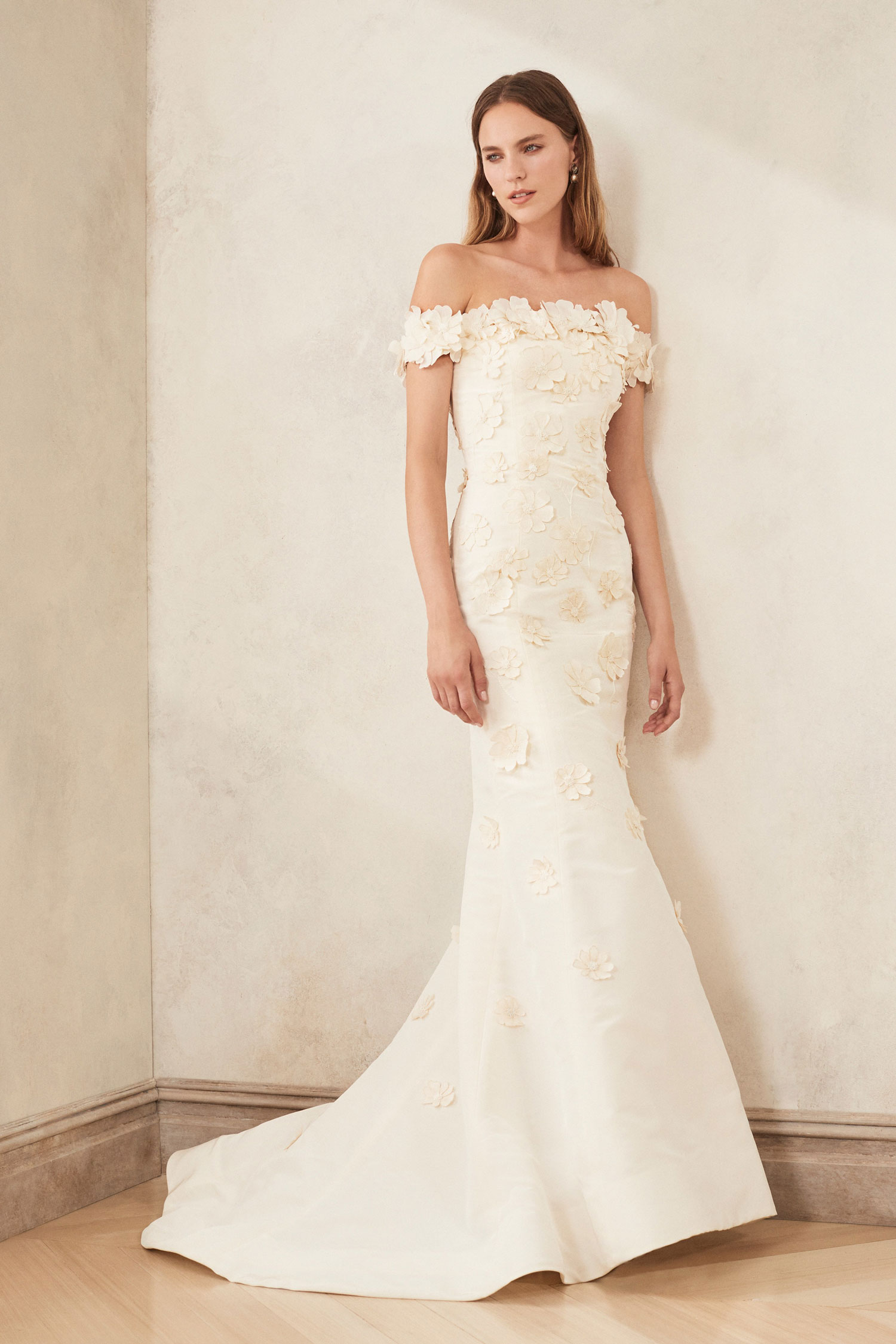 Oscar de la Renta fall 2020 off shoulder flower applique wedding dress ideas carine's bridal atelier