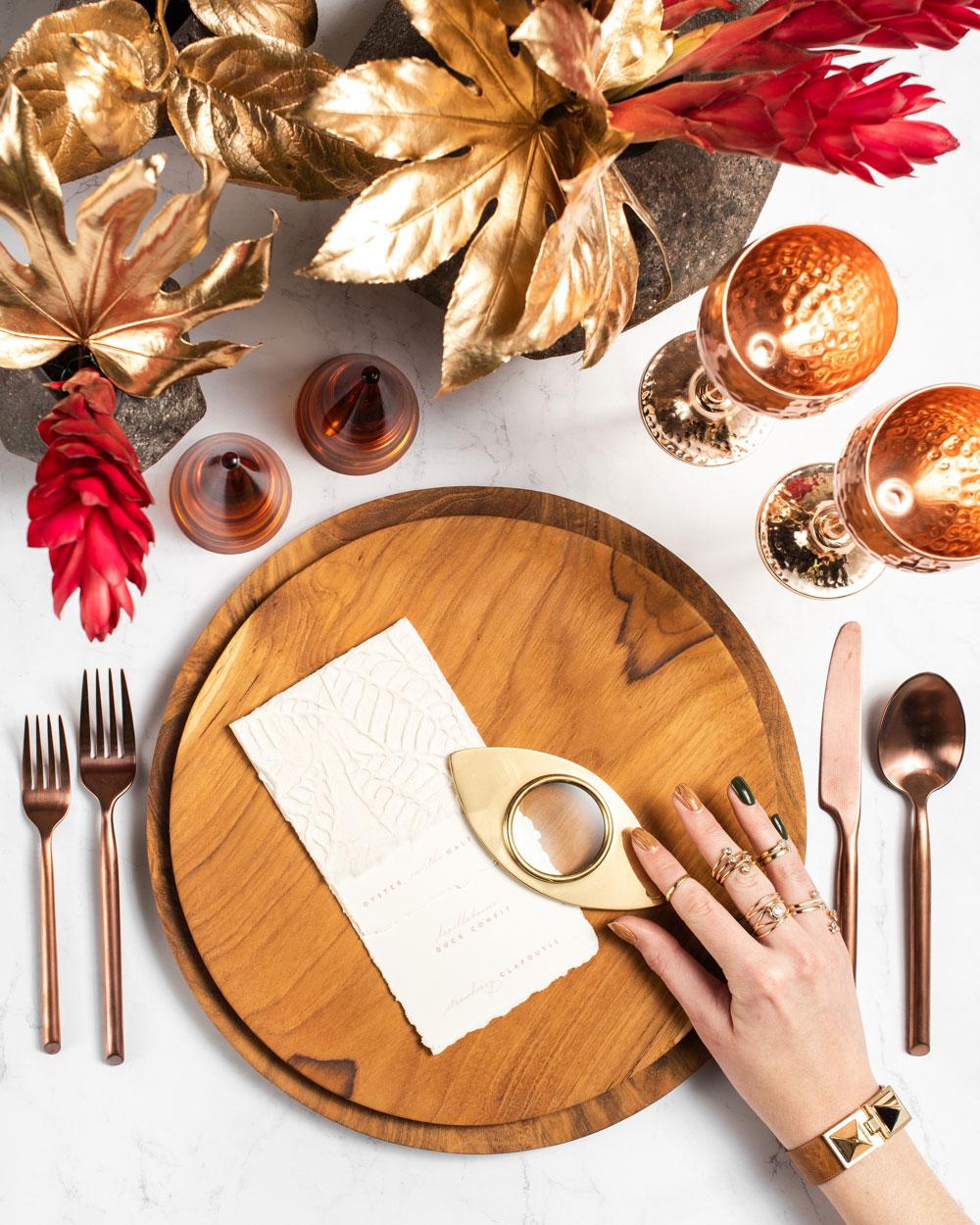 Maison de Carine tabletop company modern wood design gold details luxury wedding ideas