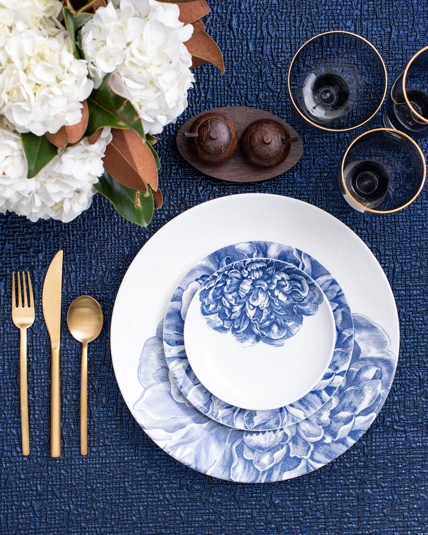 Maison de Carine tabletop company blue and white flower print tabletop place setting wedding ideas