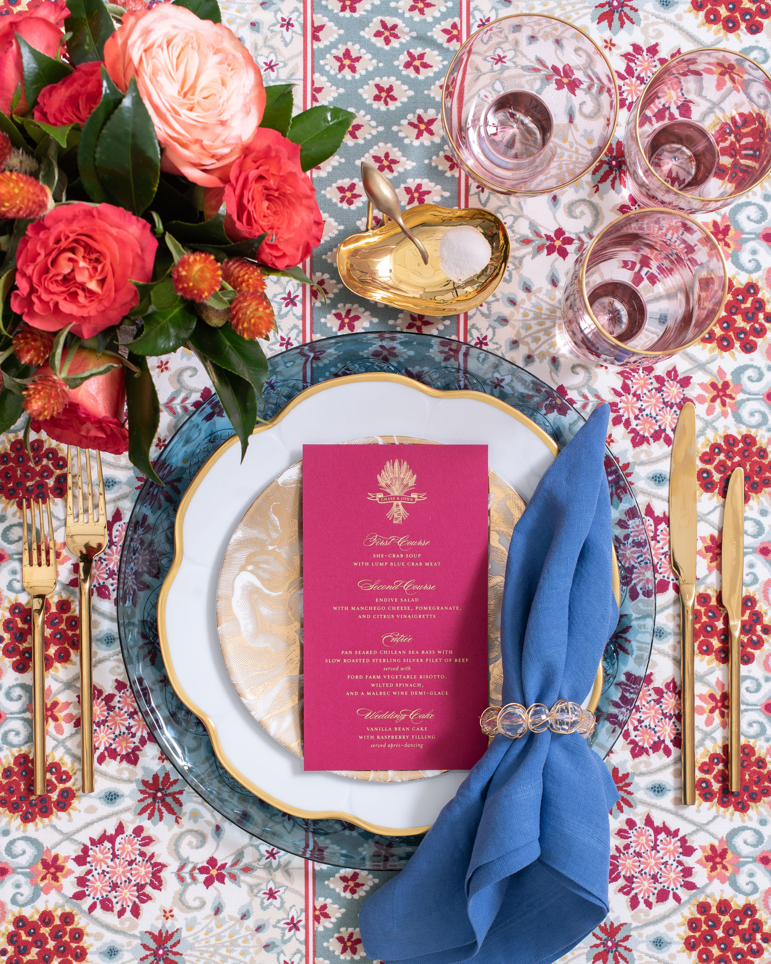 Maison de Carine tabletop company burgundy and blue luxury wedding place setting ideas