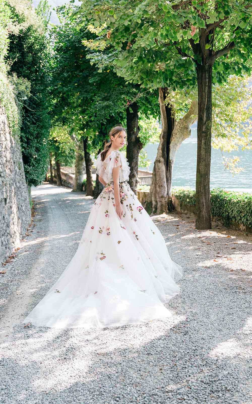 Monique Lhuillier colorful applique embroidery wedding dress fall 2020 carine's bridal atelier