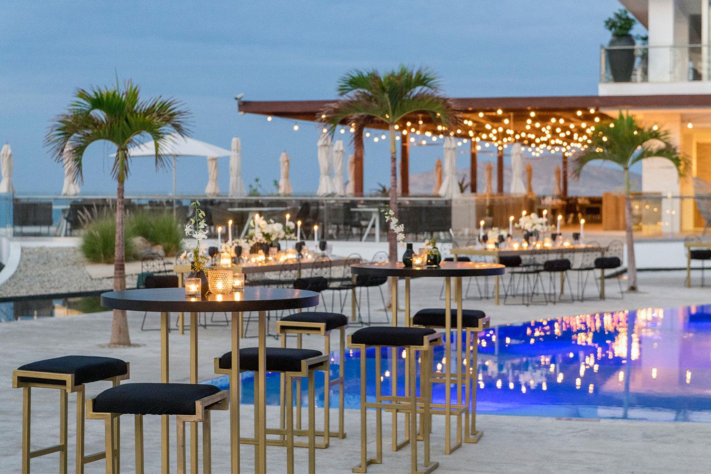Le Blanc Spa Resort destination wedding venue poolside reception at pool ocean view