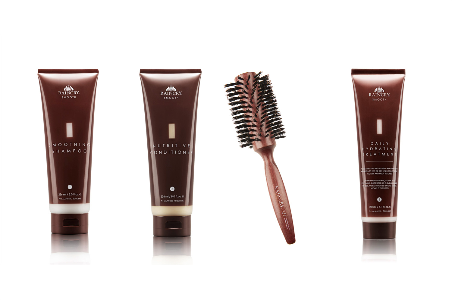 Raincry smoothing shampoo conditioner brush and daily treatment fall wedding beauty products