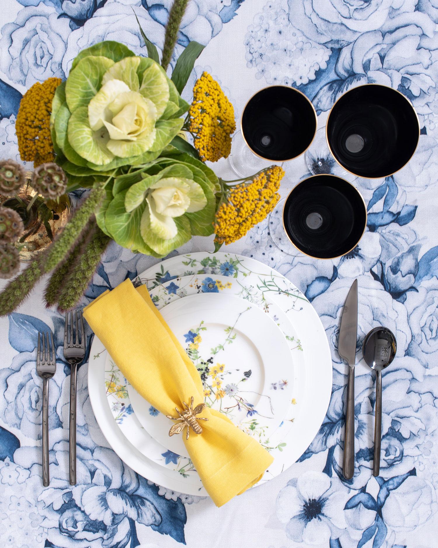 maison de carine floral print yellow napkin place setting luxury wedding ideas carine krawiec