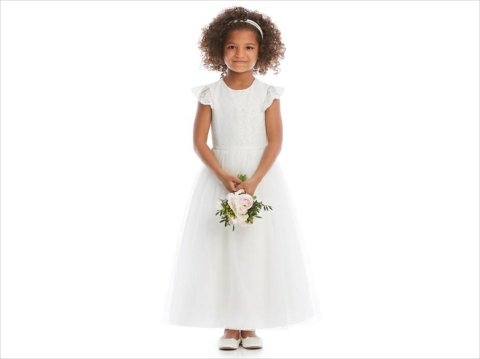 white flower girl dress ideas victoria sequin lace the dessy group