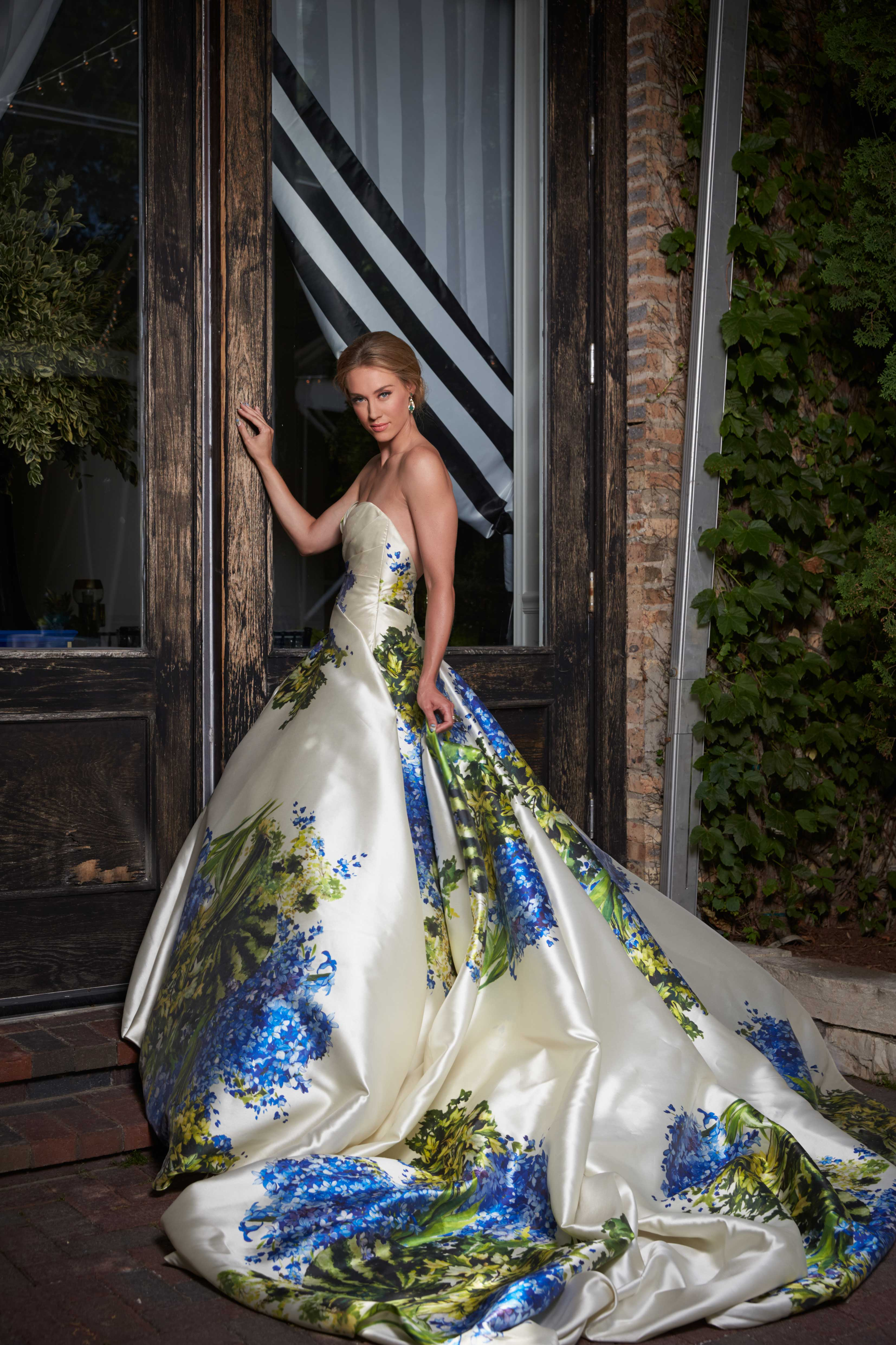 large flower print ball gown by romona keveza floral print wedding ideas