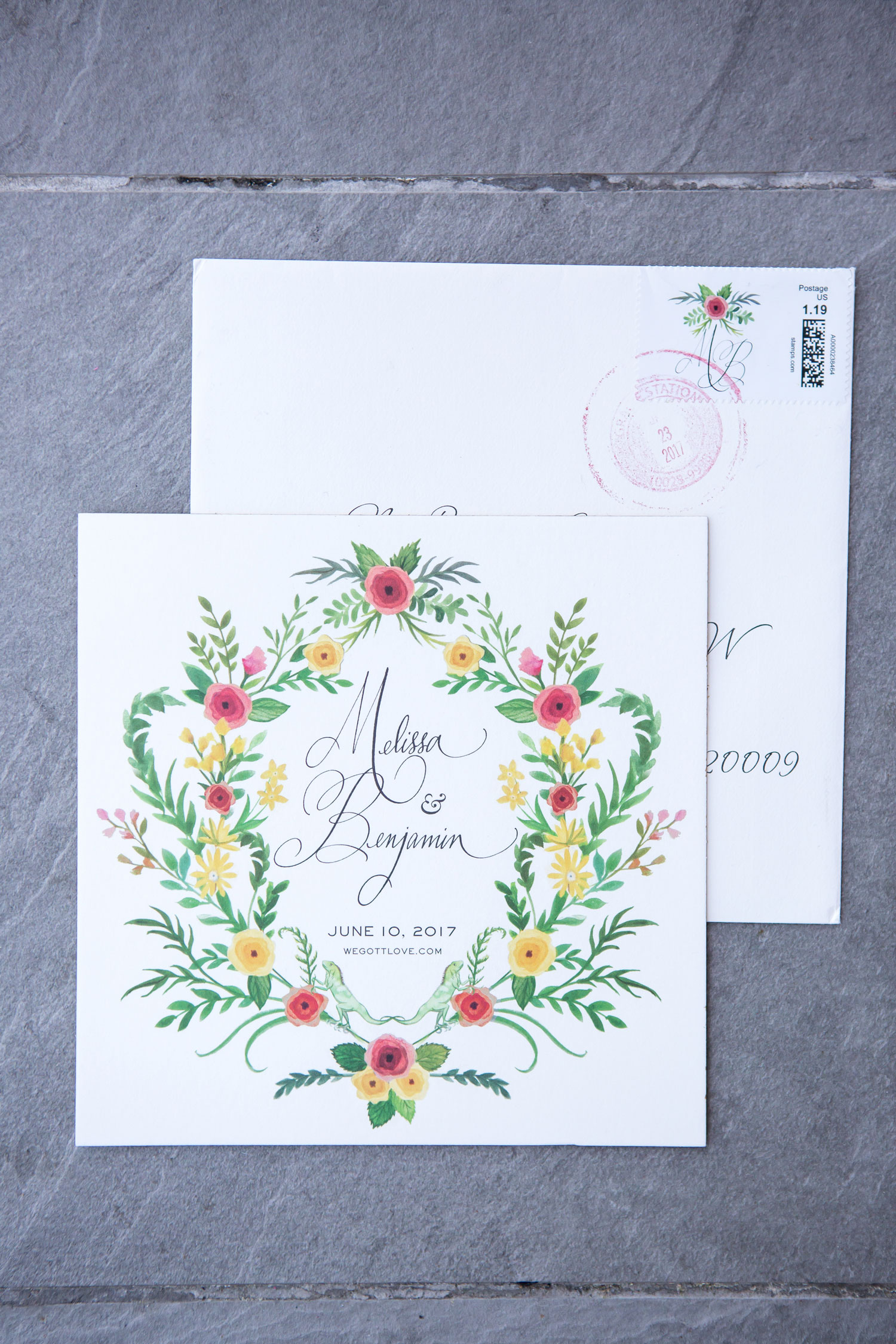 flower print wedding invitation and stamp wedding ideas floral print