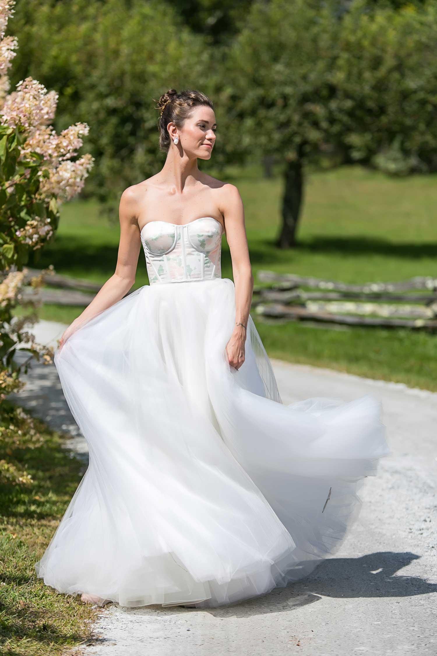 wedding dress with flower print bodice floral print wedding ideas