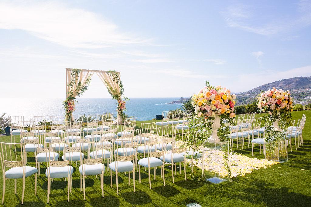 wedding ceremony outdoor ocean view pastel color palette
