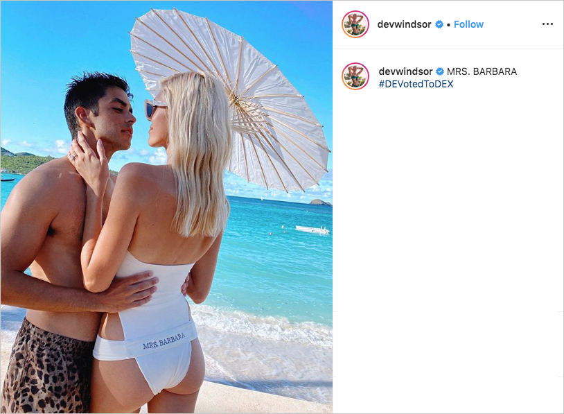 devon windsor in honeymoon swimsuit with husband johnny dex barbara