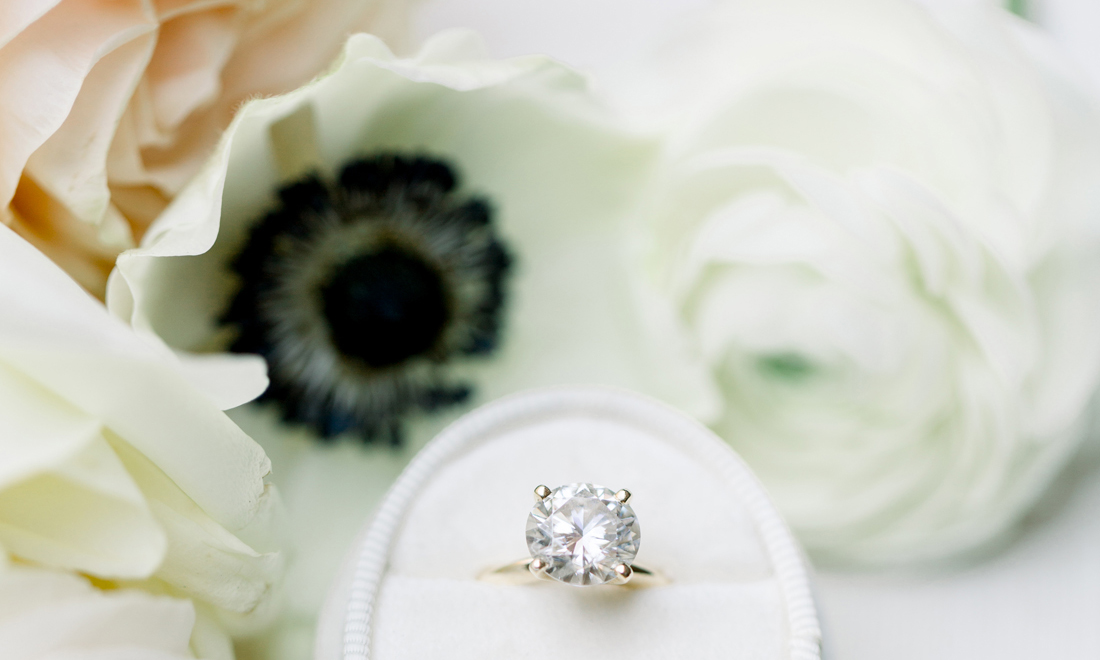 round diamond engagement ring in oval ring box, engagement-moon trend, trip to celebrate engagement