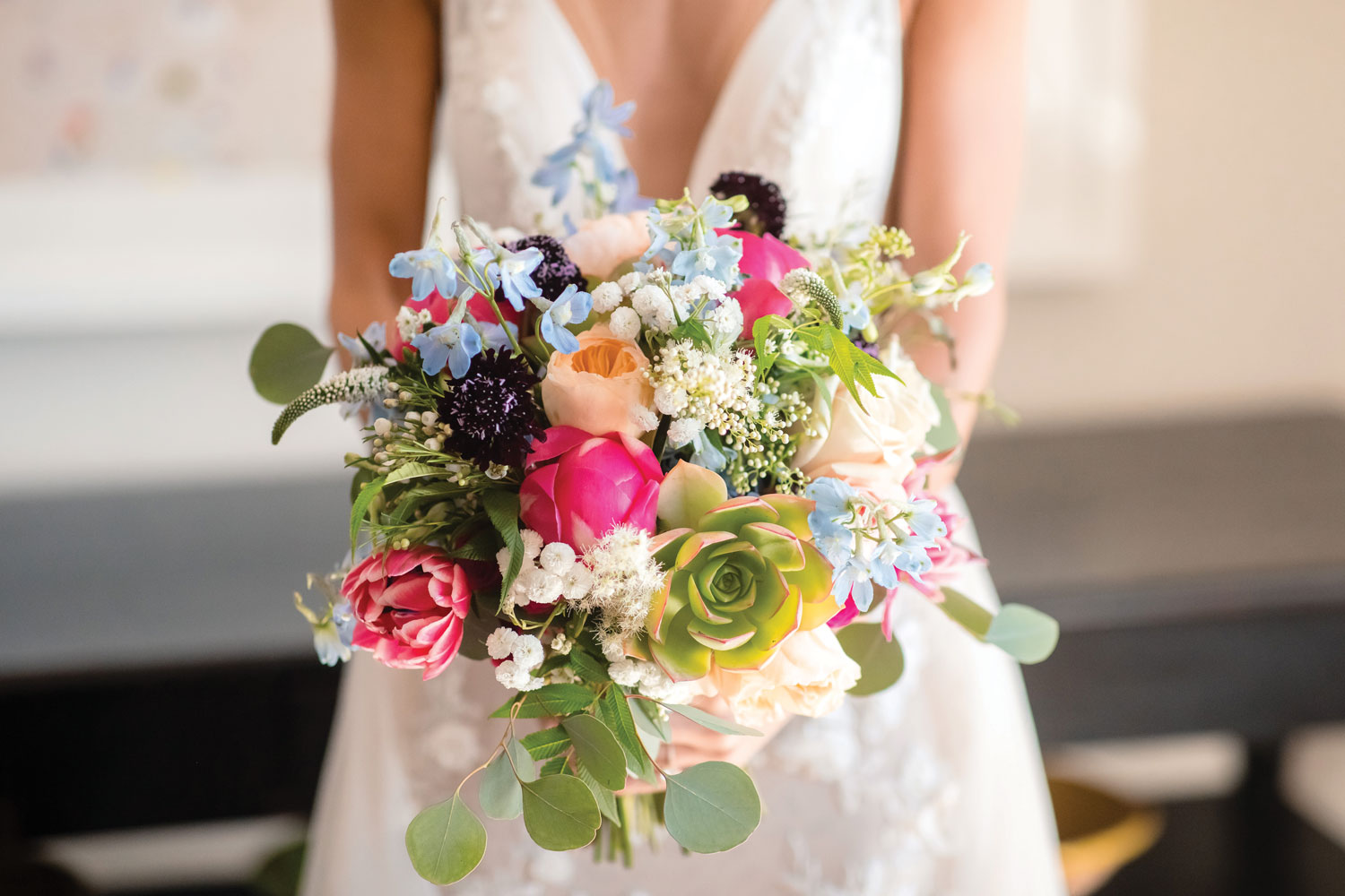 Inside Weddings magazine winter 2020 issue preview colorful wedding bouquet with succulents lilla bello