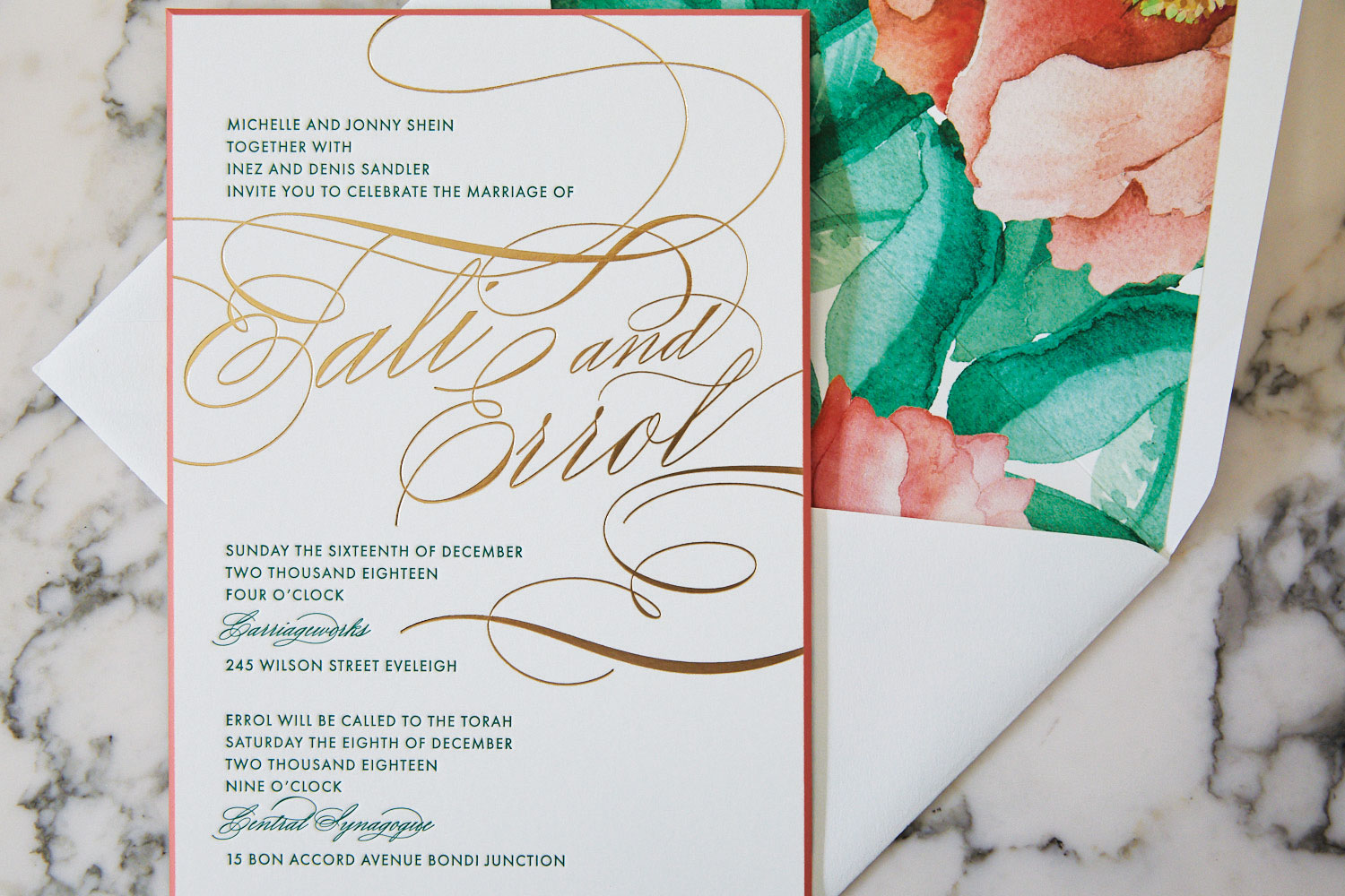 Inside Weddings magazine winter 2020 issue preview tropical wedding invitation colors by ceci new york